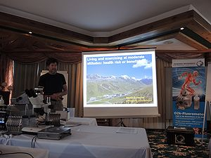 MitoFit Science Camp in July 2016 in Kuehtai, Tyrol, Austria: Martin Burtscher trying to answer the question whether living and exercising at moderate altitude is a health risk or even benefit